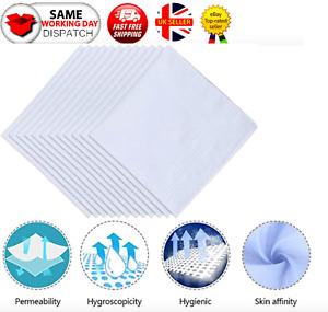Handkerchiefs Pack of 12 Mens White Plain Hankies Hanky Cotton Hankerchief Cloth