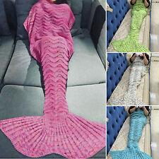 Girls Kids Fin Princess Mermaid Tail Fancy Costume Dress Knitting Beach Blankets