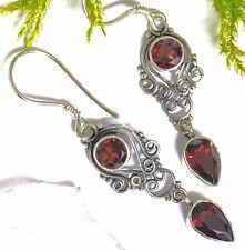 sehr edel 925 Silber Ohrhänger Granat Ohrschmuck Ohrringe Mittelalter Folklore