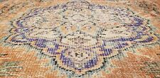 """Bohemian Antique 1940's Distressed Wool Pile Muted Dye Oushak Area Rug 5'9""""×9'2& #034;"""