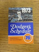 1973 Fixture Card: Baseball - Los Angeles Dodgers (fold out style). Any faults w