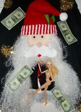 Ugly SANTA & STRIPPER Naughty Christmas Sweater Stripper Pole LED LIGHTS Men's L