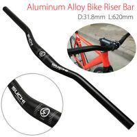 31.8mm Aluminium Alloy Bicycle Mountain Bike Handlebar Flat Riser Bar Black 62cm