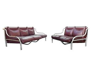 "Poltronova Italy ""stringa"" design by Gae Aulenti years '69 two sofas leather"