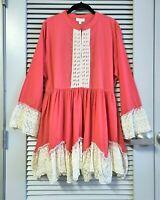 coral boho lace trim babydoll tunic top 2XL