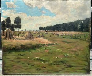 Tableau Ancien Huile Paysage Impressionniste Meules De Foin Champs Fleurs XIXe