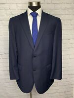 $495 Hart Schaffner Marx Mens Navy Blue Wool Classic Suit Jacket Sport Coat 44L
