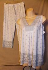 Croft & Barrow White & Gray Pattern Tank Top & Capris Pajamas Set Medium