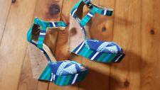 Ladies Womens Blue Green Wedge Heels Size 3 Nine WEST