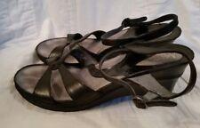 Clarks Artisan Sandals Black Leather Wedge Heel Ankle Strap 8.5M