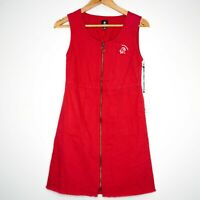 Element Womens Slater Red Midi Front Zip Dress Size 8 NWT