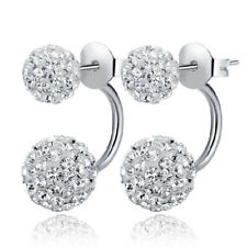 Double Stud Earrings 925 Silver Crystal Disco Clay Ball Studs Jewelry Women Gift