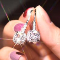 Elegant Drop Earrings Women 925 Silver White Sapphire Jewelry A Pair/set