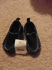 Okie-Dokie Little Boys size 4 brand new solid black with white stitching loafer