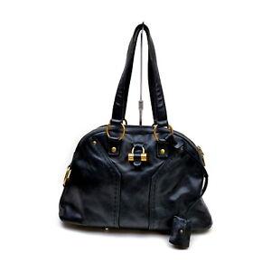 Yves Saint Laurent Shoulder Bag  Black Leather 1428980