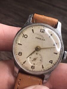 Pobeda WW2 Wristwatch PchZ Mechanical 15 Jewels Retro Soviet 1956 Men's