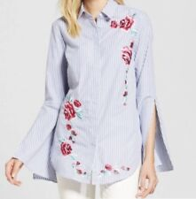 Merona Large L Floral Embroidered Bell Sleeve Button Down Trendy Shirt Top C21