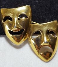 Vintage Gold Trifari TM Comedy & Tragedy Theater Face Brooch Pin