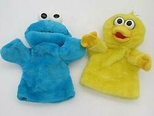 Vintage Sesame Street Big Bird Cookie Monster Hand Puppets Plush Tyco 1996 EUC