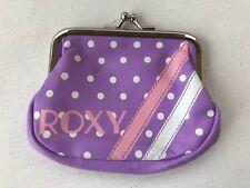 Roxy surf brand purple coin purse cute preppy white polka dot pink