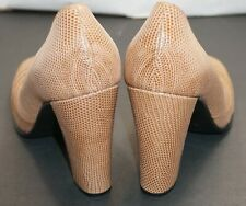 NEW HERMES women's shoes heels pumps beige lizard / snake skin Authentic 37.5