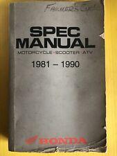 Honda Motorcycle-Scooter-Atv Spec Manual 1981-1990 All Models