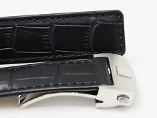 Black 22/20 mm Leather Strap Watch Band Made For Timewalker MONTBLANC