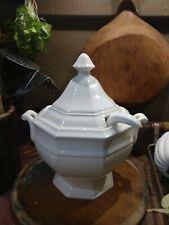 """Vintage White Soup Tureen Bowl w/ Handles & Ladle 8-3/4"""" Enesco Japan Ceramic"""