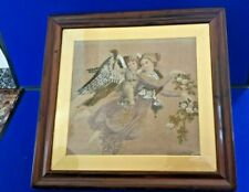 Mid 19th Century Woolwork/Beadwork/Ebroide ry of Cherub in Original Frame