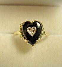 Genuine 10kt Yellow Gold Black Onyx and Diamond Heart Ring Size 7.25 & 1.7g