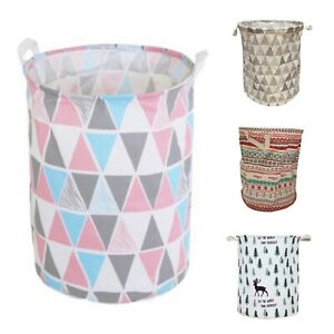 4 STYLES Laundry Hamper Baskets Foldable Cotton Waterproof Storage Bin