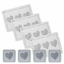 SET OF 4 PLACE MATS AND 4 COASTERS GREY LOVE HEART HOME FAMILY TABLE  WIPE CLEAN