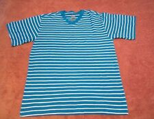 Boy's Youth Faded Glory Striped Blue/Aqua Blue V-Neck Shirt Size Xl(14-16)