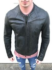 All Saints MORTAR Leather Biker Bomber Jacket Collide Slim Fit Rare LARGE Black