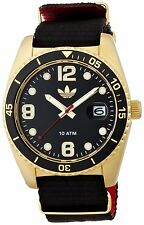 Adidas Mens ADH2865 Brisbane Gold Tone Case Black Canvas Strap Quartz Watch
