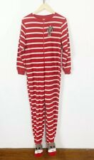 Nick & Nora Women's Red & White Stripe Sock Monkey Footie Pajamas Size S