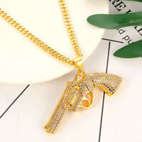 Hip Hop Rock Full Rhinestone Ice Out Bling Revolver Gun Pendant Necklace Jewelry