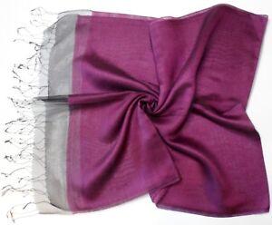 Dark Purple Black Edge Double Layer Silk Viscose Mix Long Scarf - New (K35)