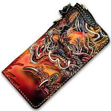 Handmade Wallets Mens Genuine Leather Clutch Long Wallet Handbag Purse Card Case