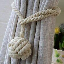 2PC Curtain Rope Ball Curtain Tie Backs Natural Cotton Curtain Holdbacks Buckle