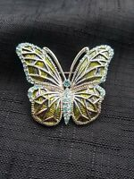 Vintage Butterfly Sparkle Diamante Brooch Blue Stone Green Silver Tone Textured