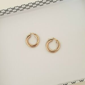 """Italian Tri-Colour Gold 9k Russian-Style Hoop Earrings 17mm Stamped """"375 Italy"""""""