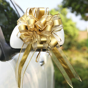 10x Wedding Car Gift Wrap Organza Pull Bows Ribbon Florist Pew Decoration Home
