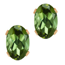 0.80 Ct Oval Shape Green Tourmaline Rose Gold Plated Silver Stud Earrings