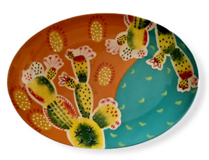 Cactus Platter Tray Southwest SW Orange Teal Oval Ceramic Dish Home Decor NEW