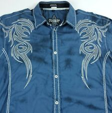 XL Roar Mens Distressed Embroidered Tribal Button Front Long Sleeve Shirt