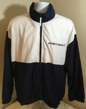 Fischer Ski Tennis Men's Large Windbreaker Blue White Embroidered Logos Full Zip