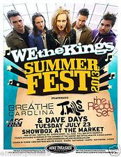 WE THE KINGS /  BREATHE CAROLINA / T. MILLS 2013 SEATTLE CONCERT TOUR POSTER