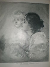 Actress Eleonora Duse with artist's daughter from Franz Von lenbach 1900 print