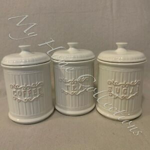Canisters Set For Kitchen Ceramic 3p Tea Coffee Sugar Country Style White Design